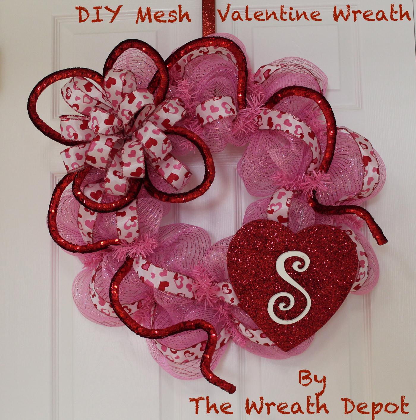 Valentine Wreath Part - 18: Mesh Valentine Wreath