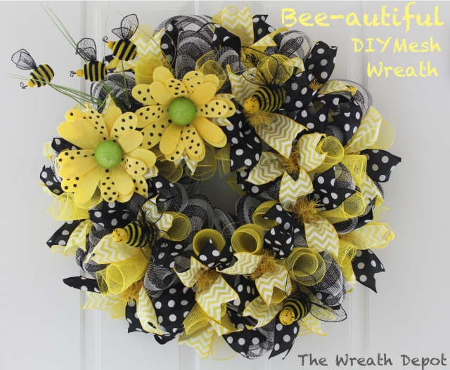 Diy spring mesh wreath bee autiful ribbon wreath the for Artificial bees for decoration