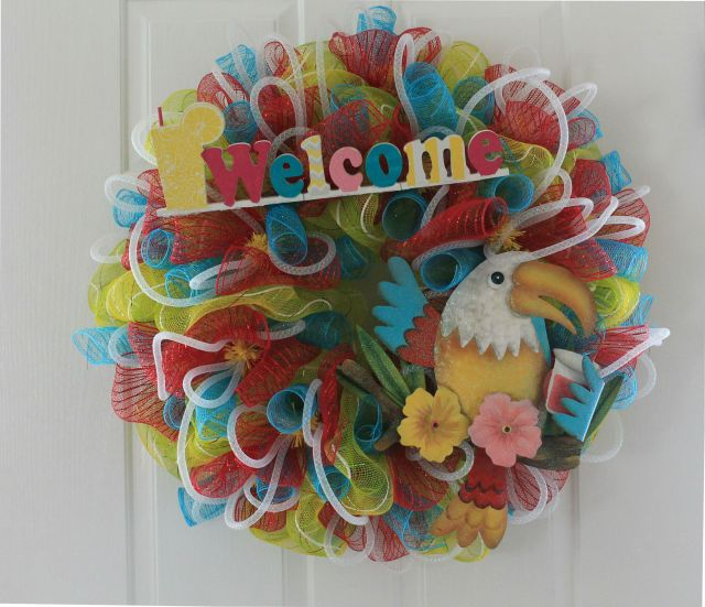 Color pop diy summer mesh wreath the wreath depot for Colorful summer wreaths