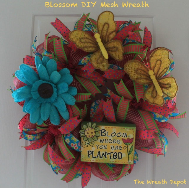 Blossom diy mesh ribbon spring wreath tutorial the for Craft wreaths for sale