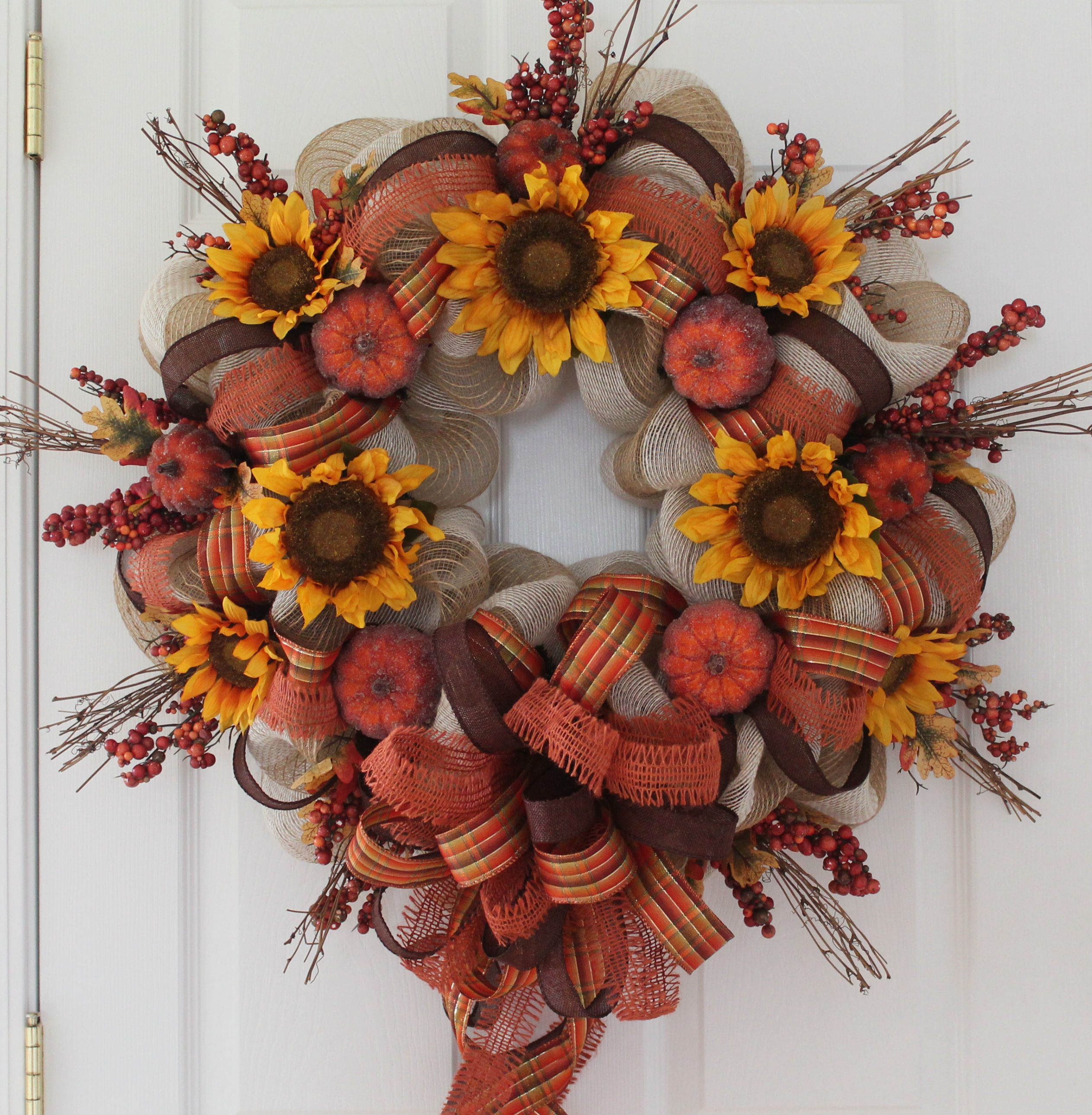 Pumpkin And Sunflower DIY Fall Mesh Wreath